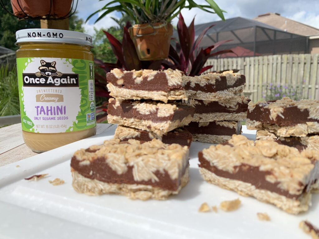 Chocolate Oat Tahini Bars